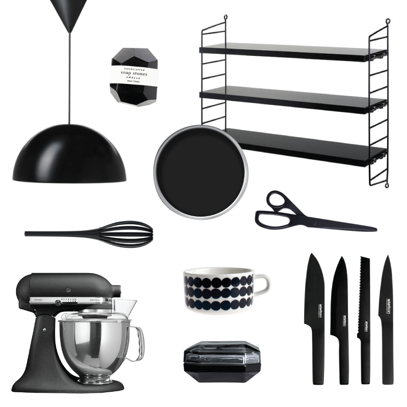 Black Kitchen Accessories Moodboard | A Living Diary