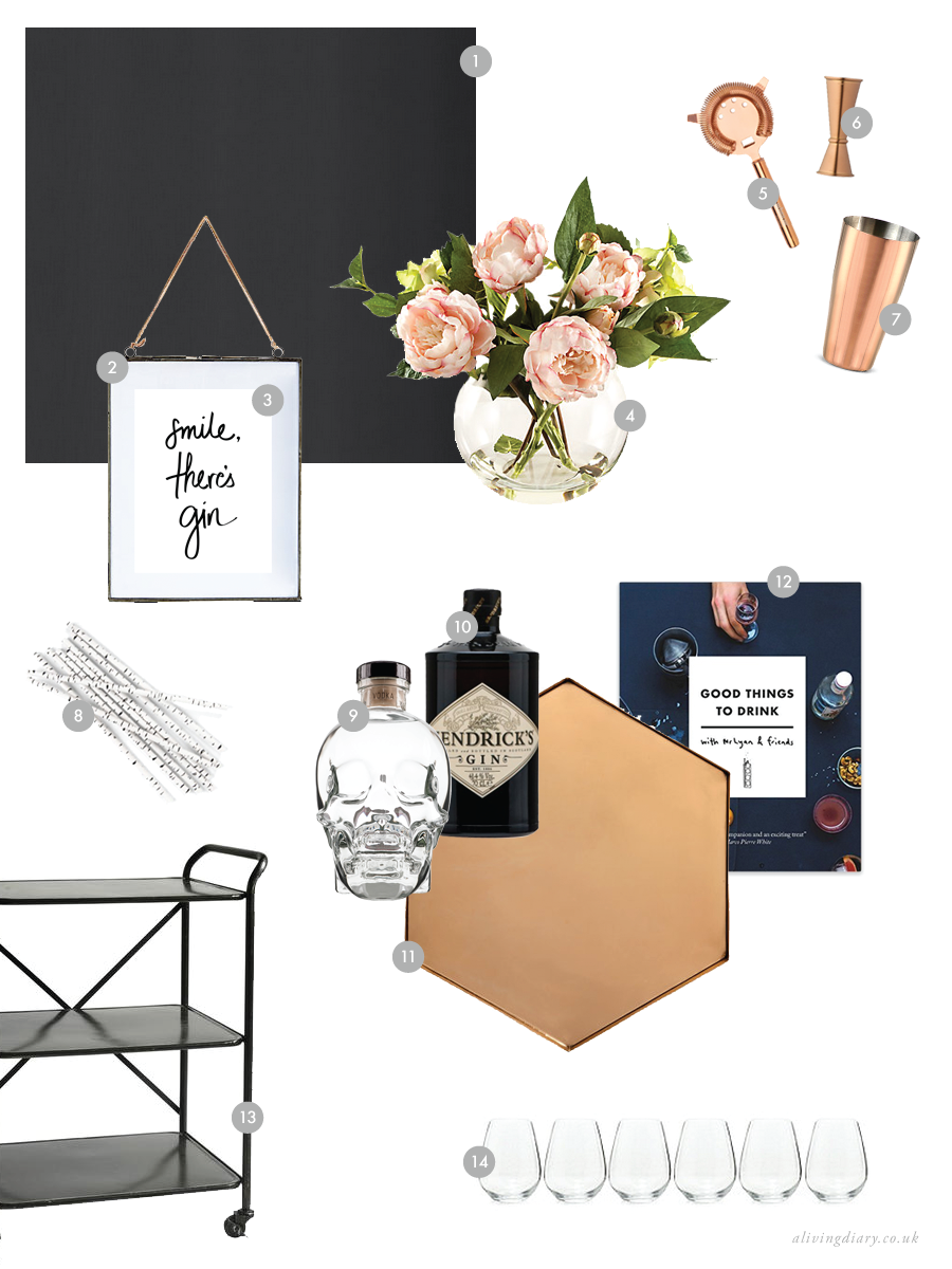 National Wallpaper Week with Graham & Brown | Rose Gold & Black Bar Cart Moodboard | A Living Diary
